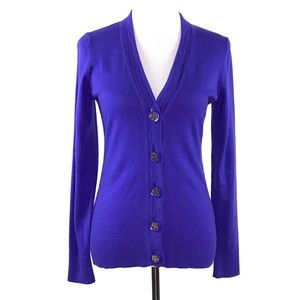 Tory Burch Womens Cardigan Med Purple Merino Wool